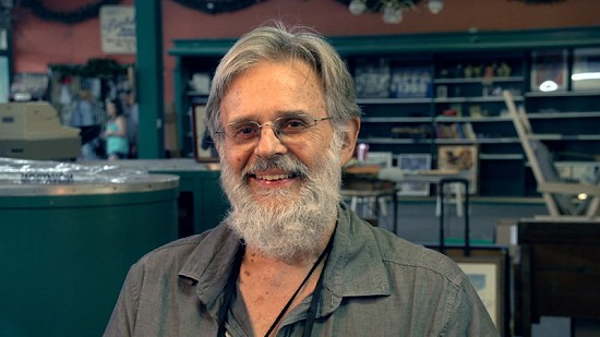Still frame from Pryor Center video interview with Don Wilcock at Bubba's Blues Corner during the King Biscuit Blues Festival; Helena, Arkansas, 2015 © Pryor Center for Arkansas Oral and Visual History, University of Arkansas
